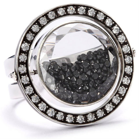 Moritz Glik Kaleidoscope 18K Gold and Black Diamond Orbit Ring