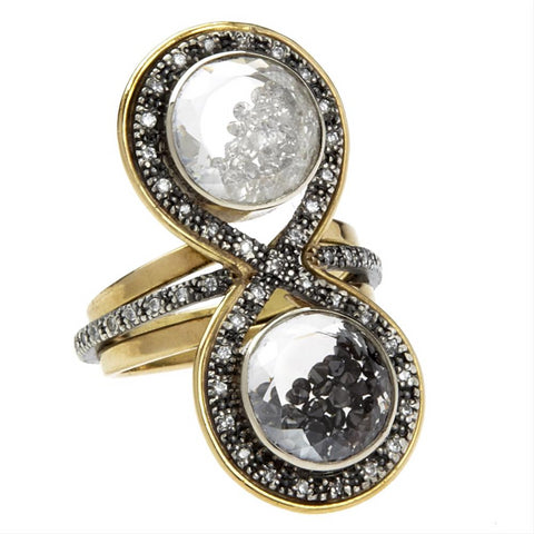 Moritz Glik Kaleidoscope 18K Gold, Oxidized Silver with Black and White Diamonds Ring