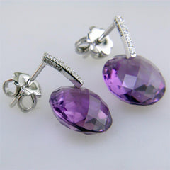 Suzanne Kalan Round Amethyst & Diamond Dangle Earrings White Gold