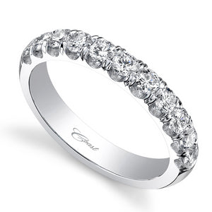 Diamond Wedding Band Anniversary Ring 18K White Gold .76ctw