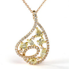 Rose Gold Teardrop Pendant with Mixed Shapes of Yellow Diamonds