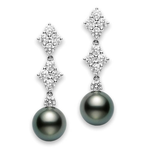 Mikimoto Classic Elegance Black South Sea Pearl Long Diamond Earrings