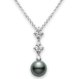 Mikimoto Classic Elegance Black South Sea Pearl Diamond Pendant White Gold