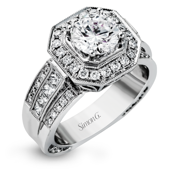 Simon G. Passion Collection Round Center Square Halo Engagement Ring NR109