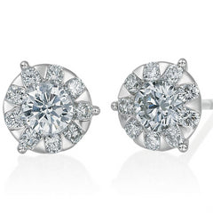 Memoire Diamond Bouquets Three Prong Diamond Stud Earrings
