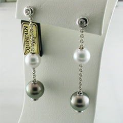 Mikimoto 8mm Akoya & 10mm Black South Sea Pearls in Motion Dangle Drop Earrings PEL 644 ABDW