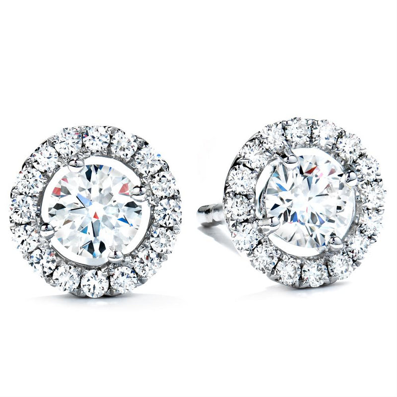 Hearts on Fire 18k White Gold Repertoire Round Diamond Halo Stud Earrings .55ctw