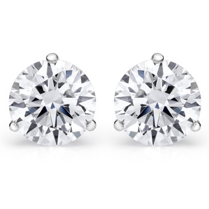 Forevermark Round Ideal Cut Diamond 3 Prong Martini Stud Earrings .38 carats