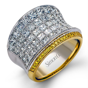 Simon G. Princess Diamond Wide Concave Right Hand Ring with Yellow Diamonds MR1720