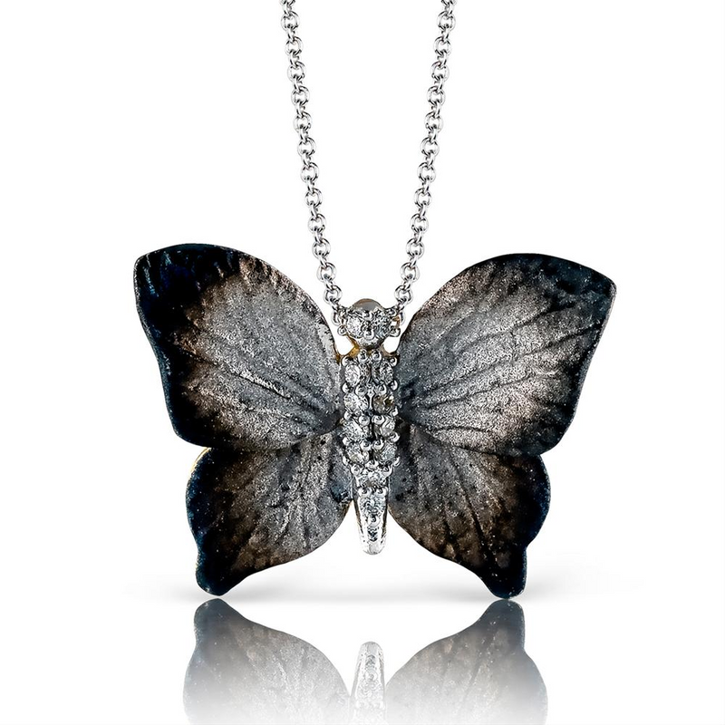 Simon G. 18K Yellow Gold Organic Butterfly Pendant Necklace with Diamonds DP229-G