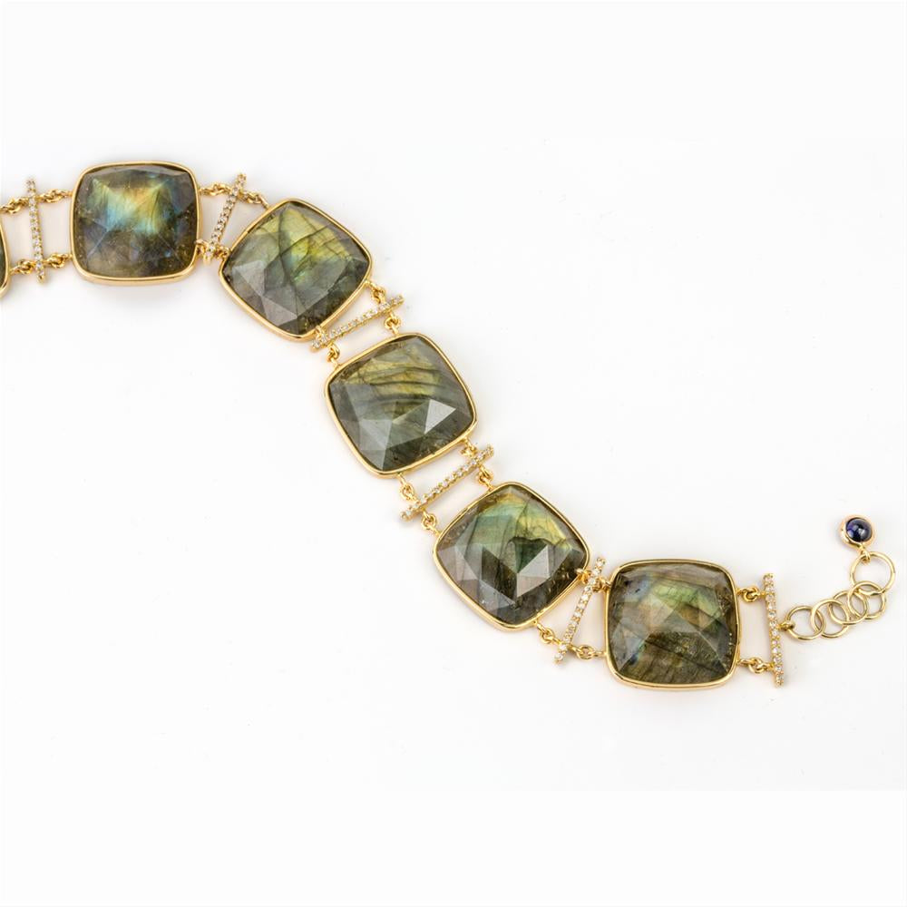 Cushion Shape Labradorite & Diamond Bar Link 14K Yellow Gold Bracelet