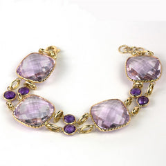 Amethyst Cushion Shape Double Row 14K Yellow Gold Bracelet