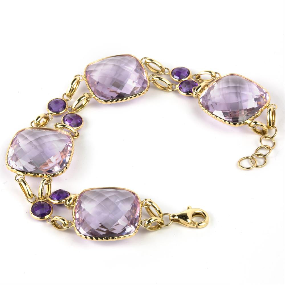 Amethyst Cushion Double Row 14K Yellow Gold Bracelet