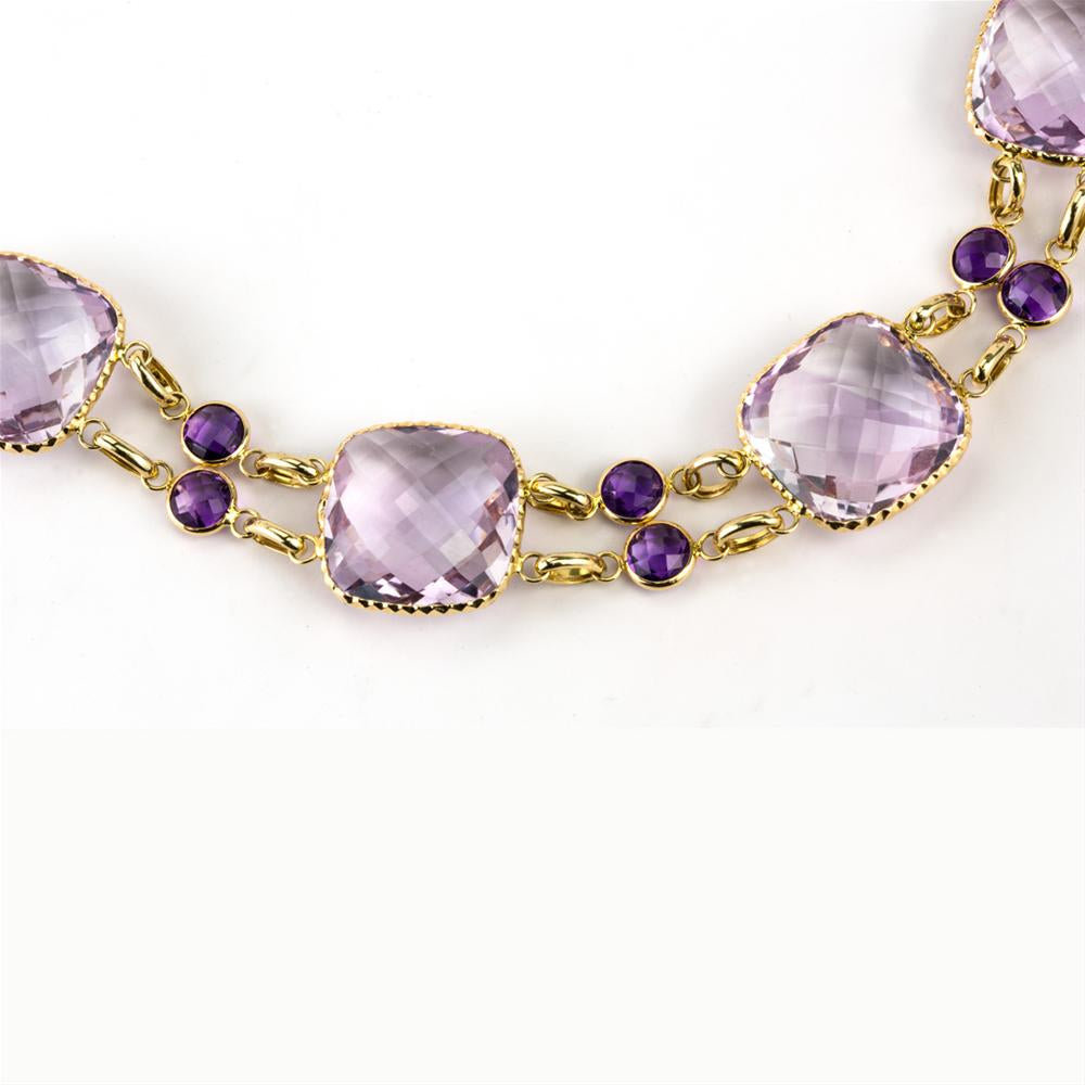 Amethyst Cushion Shape Double Row Yellow Gold Bracelet