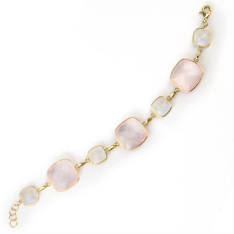 Cushion Shaped Moonstone & Rose Quartz 14K Yellow Gold Bracelet