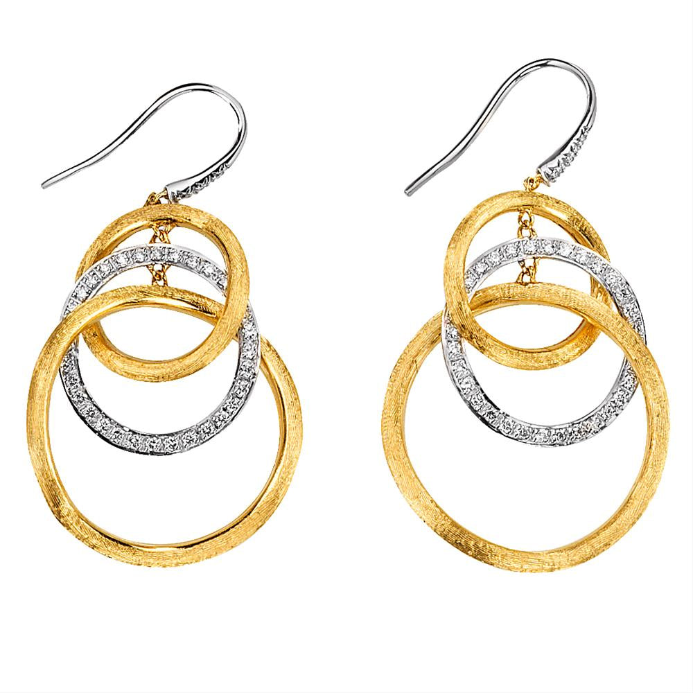Marco Bicego Jaipur Link White Yellow Gold Diamond Dangle Earrings