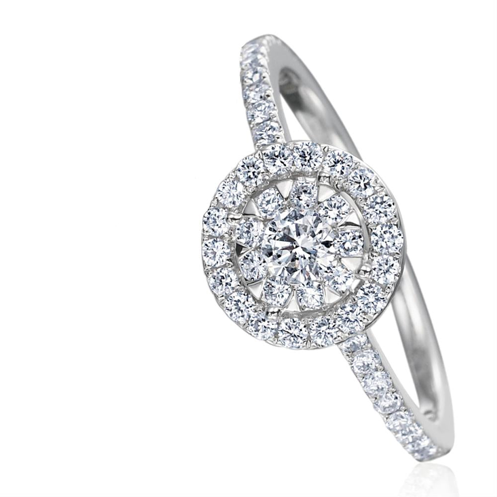 Memoire Bouquets Diamond Halo Engagement Ring