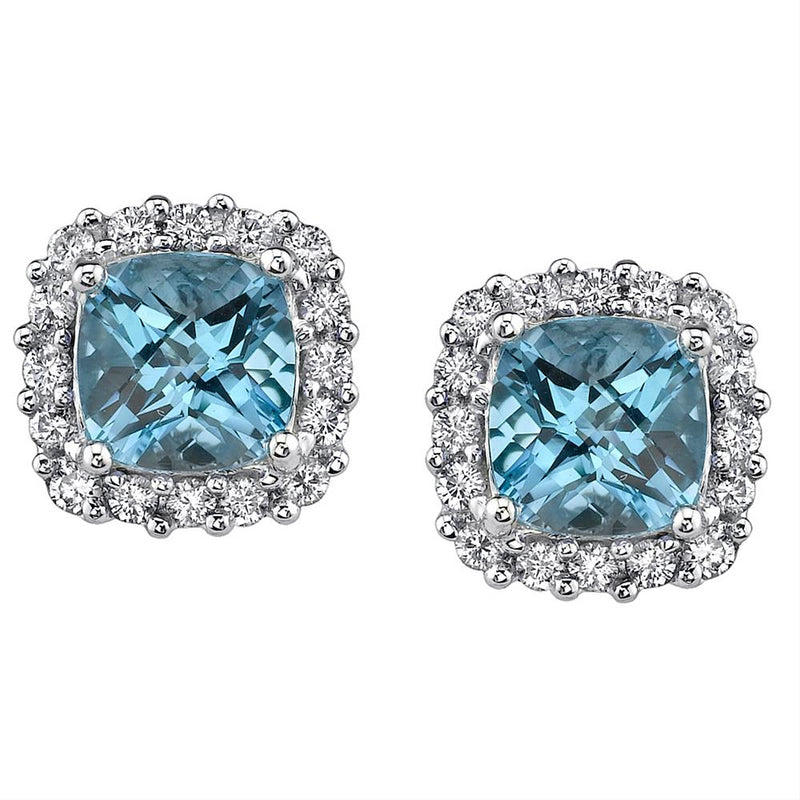 Blue Topaz Diamond Halo 14K White Gold Stud Earrings