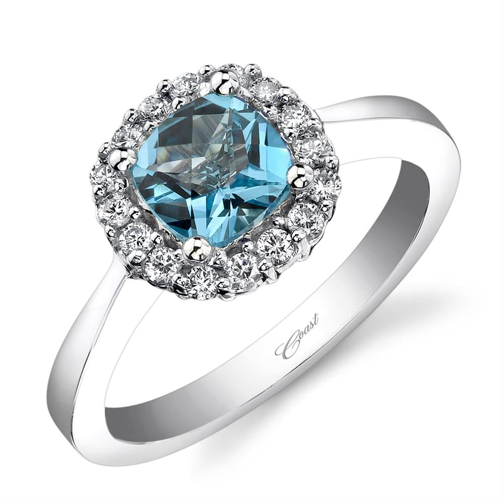 Blue Topaz Diamond Halo 14K White Gold Ring