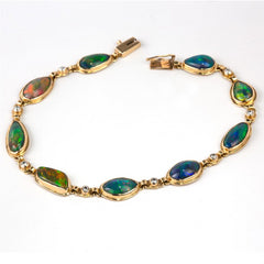 Ethiopian Freeform Opal 18K Yellow Gold & Diamond Bracelet