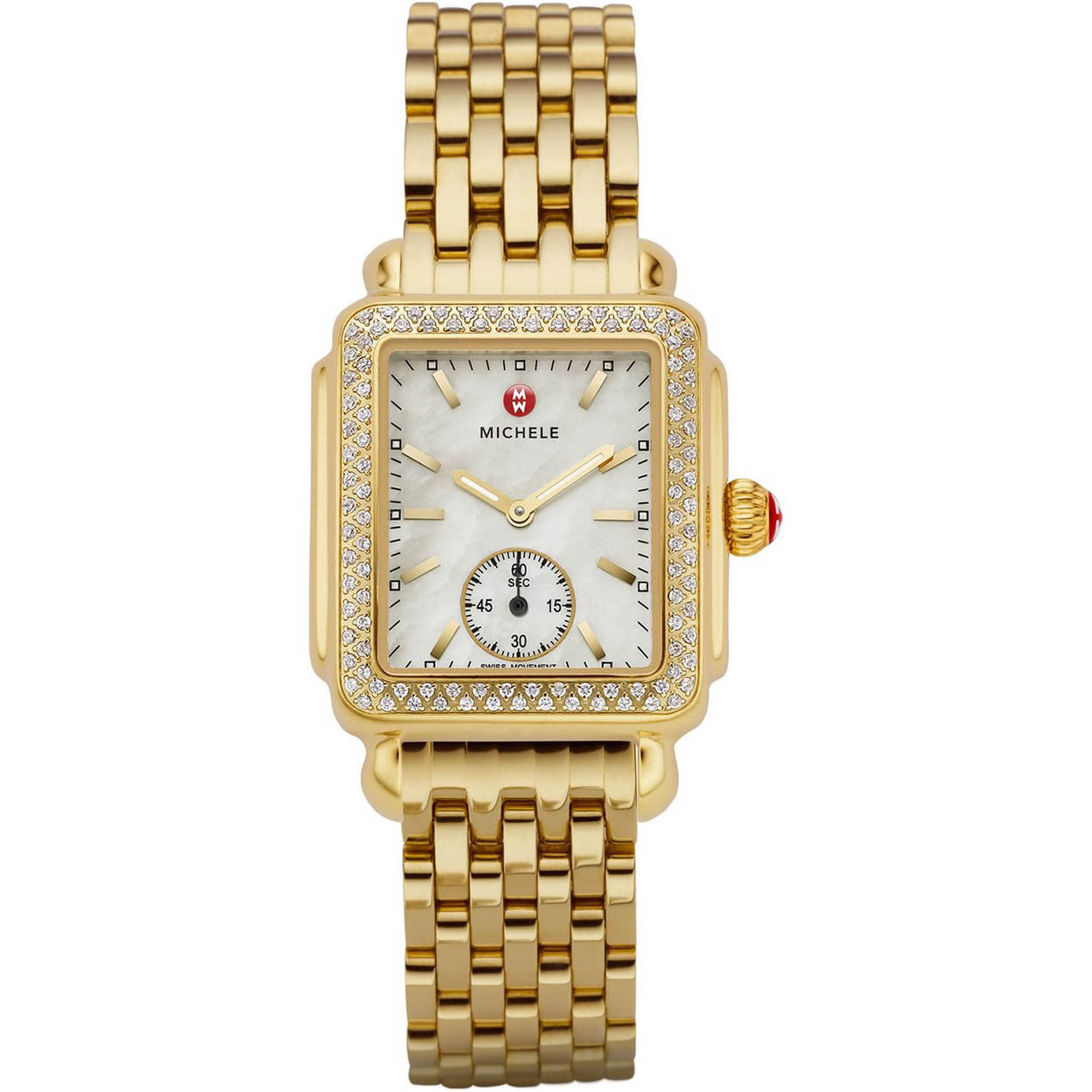 Michele Deco 16 Mother of Pearl Diamond Bezel Seconds Window Gold-Plated Watch