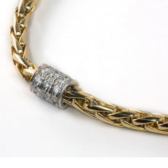 Yellow Gold Wheat Chain Bracelet with Diamond Stations 1.75 carats