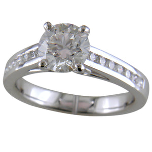 Royale Round Diamond Solitaire Engagement Ring with Round Channel Set in Platinum