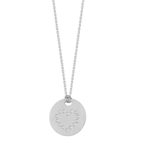 Roberto Coin 18k White Gold Disc Pendant With a Diamond Heart