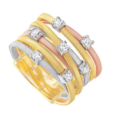 Marco Bicego Goa Seven Row Tri-color Gold Diamond Ring