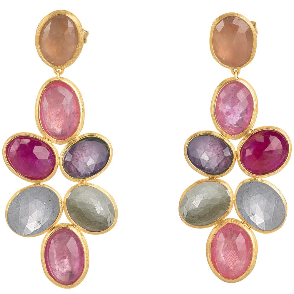 Marco Bicego Siviglia Pink & Multicolor Sapphire Dangle Yellow Gold Earrings