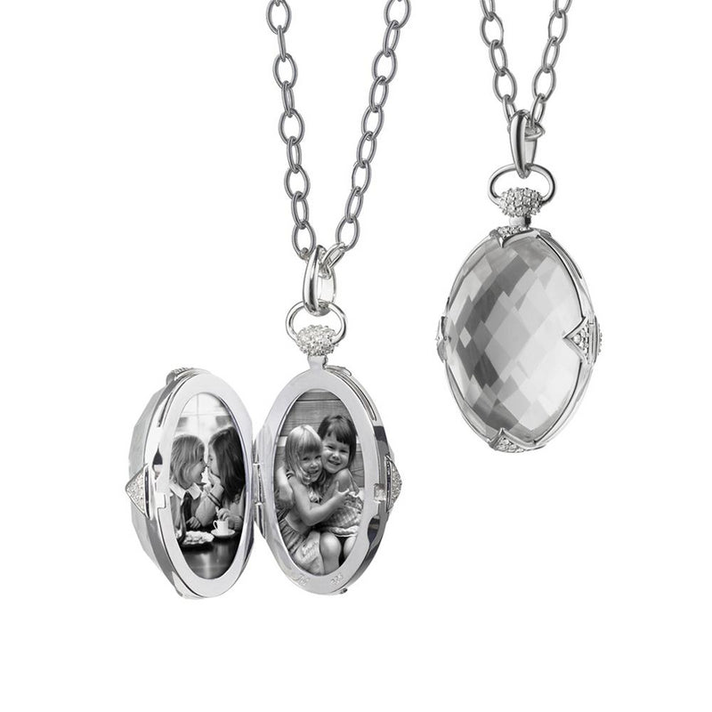 "Monica Rich Kosann Sterling Silver Rock Crystal Locket Pendant with White Sapphire on 30"" Chain"