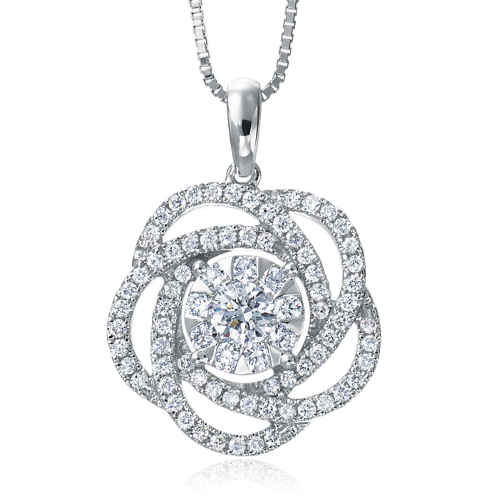 Memoire Bouquets Diamond Flower Pendant Necklace 18K White Gold MBQ02P
