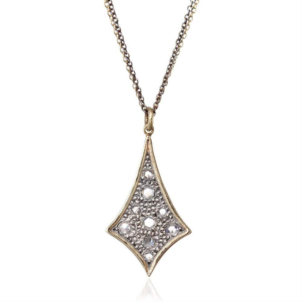 Moritz Glik New Wave 18K Gold and Oxidized Silver Rose Cut Diamond Freeform Pendant Necklace