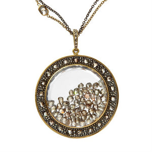 Moritz Glik Champagne Rose Cut Floating Diamond X Large Round Pendant Medallion Necklace
