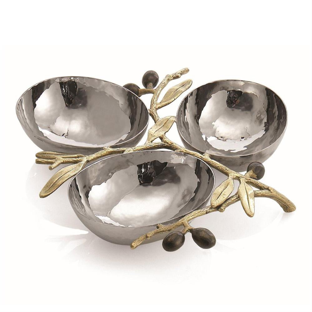 Michael Aram Olive Branch Gold Triple Compartment Dish 175126