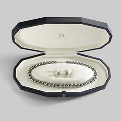 Mikimoto Black South Sea Pearl Necklace Strand & Stud Earring Set Special Edition