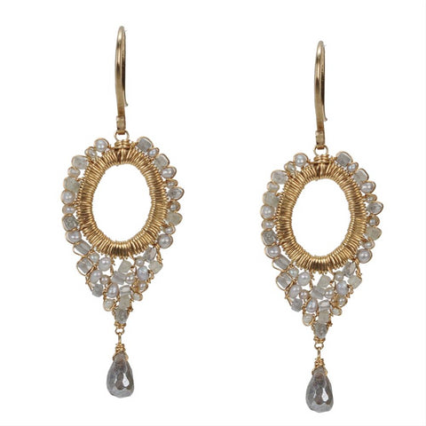 Dana Kellin Grey Diamond, Labradorite & Pearl Dangle Yellow Gold Earrings