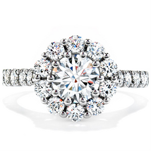 Hearts on Fire Beloved Round Diamond Halo Engagement Ring 1.25ctw