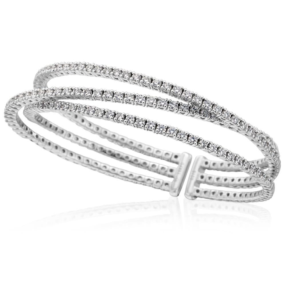 18K White Gold Triple Row Diamond Cuff Bracelet 3.15 Carats