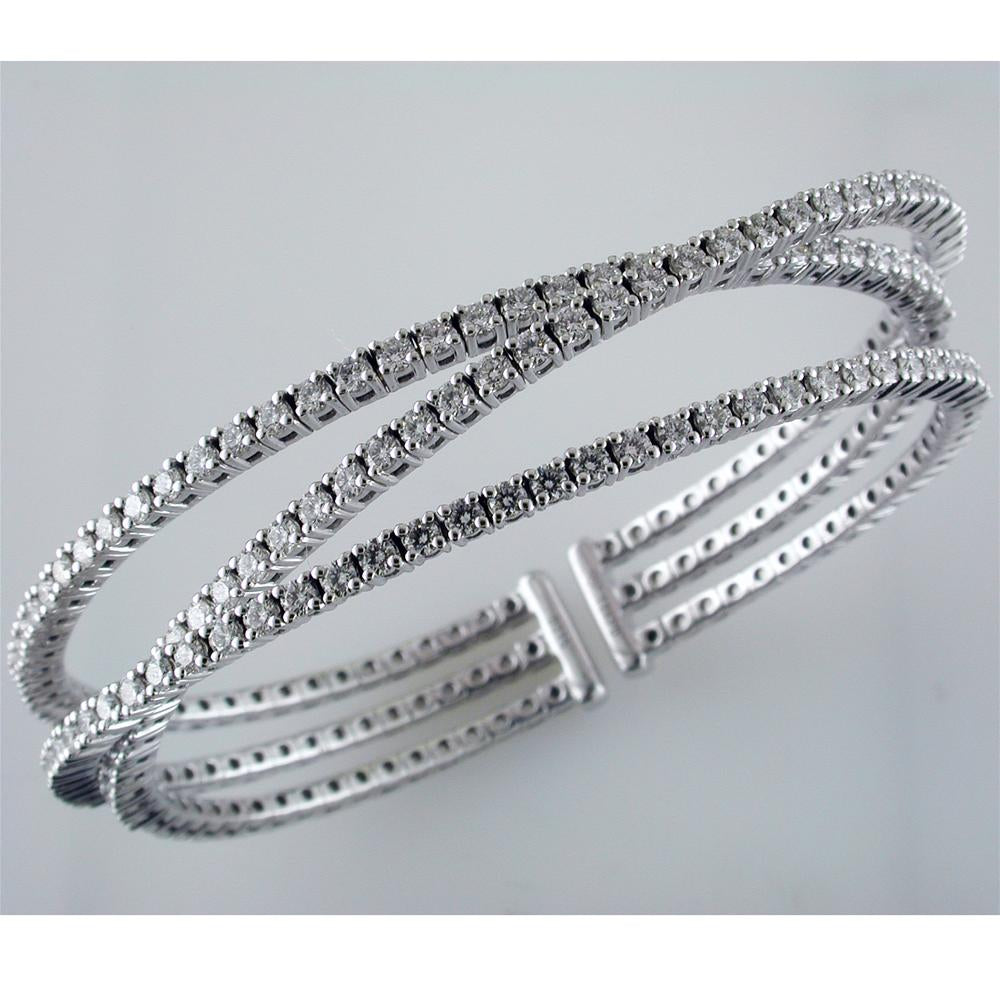 18K White Gold Triple Row Diamond Cuff Bracelet