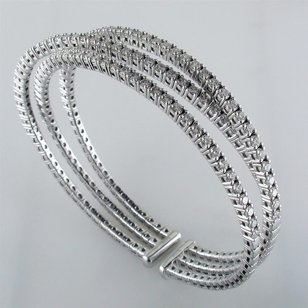 18K White Gold Triple Row Round Diamond Cuff Bracelet 3.15 Carats