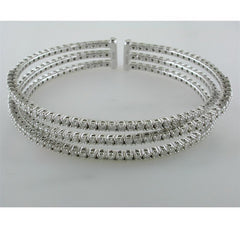 18K White Gold Triple Row 112 Round Diamond Cuff Bracelet 3.15 Carats