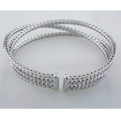 18K White Gold Triple Row Diamond Cuff Bracelet 9mm wide on bottom