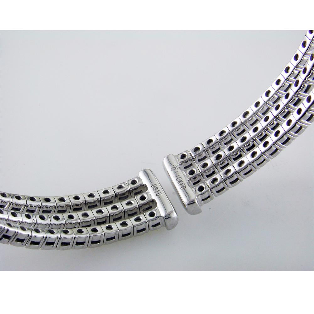 18K White Gold Triple Row Diamond Cuff Bracelet 3.15 Carats with Center Opening