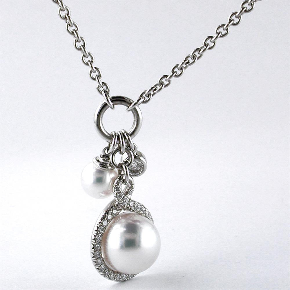 Mikimoto Petite Soleil Diamond & Pearl Necklace Triple Drop Pendant