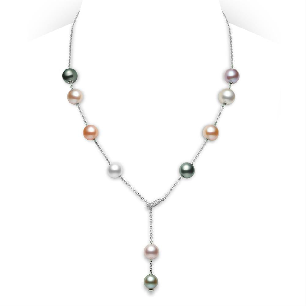 necklace jewelry gold mikimoto pearls zales clasp shop pearl diamond collection