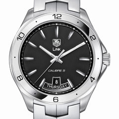 TAG Heuer LINK Calibre 5 Day-Date Automatic Black Dial Watch 42mm WAT2010.BA0951