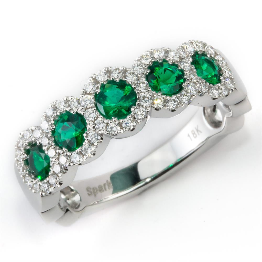 Emerald & Diamond Halo Five Stone Ring Band 18K White Gold