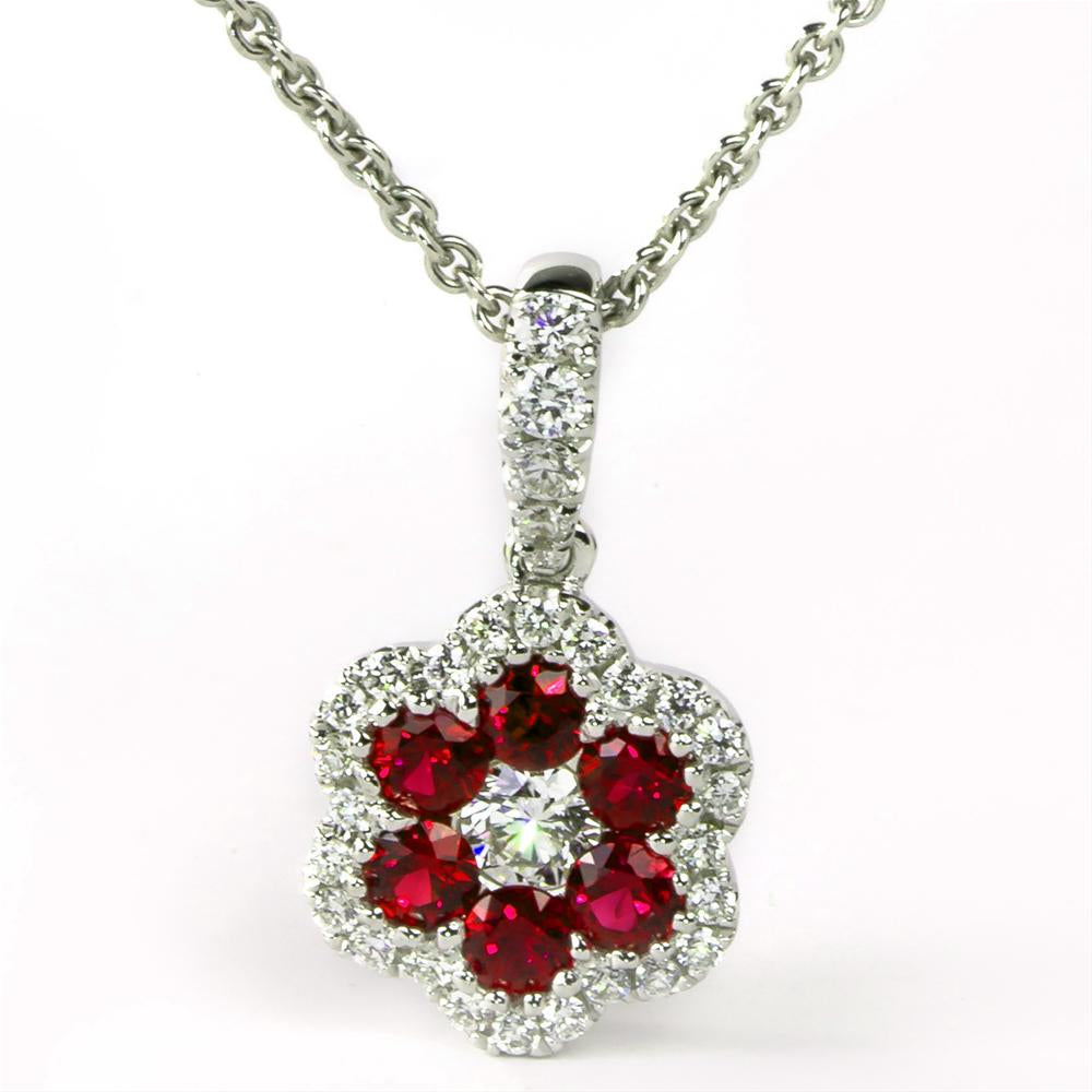 Ruby & Diamond Halo Flower Pendant Necklace 18K White Gold