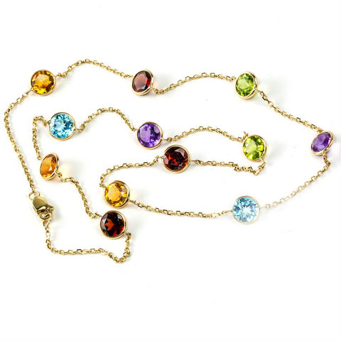 Color Gemstones By the Yard Necklace Chain 14K Yellow Gold